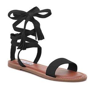 "Steve Madden ""Kaara"" Black Wrap Sandals"